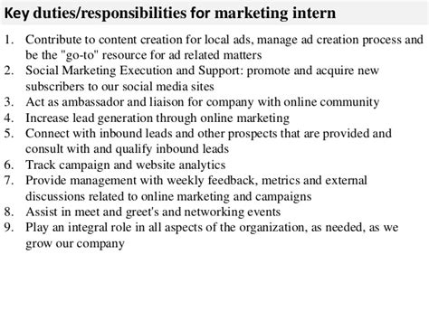 typical job interview questions and answers marketing intern job description