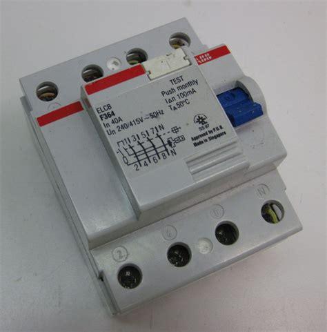 abb circuit breaker elcb 4 pole 40a 100ma f364 40 0 1 w