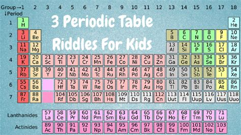 periodic table for children periodic table riddles