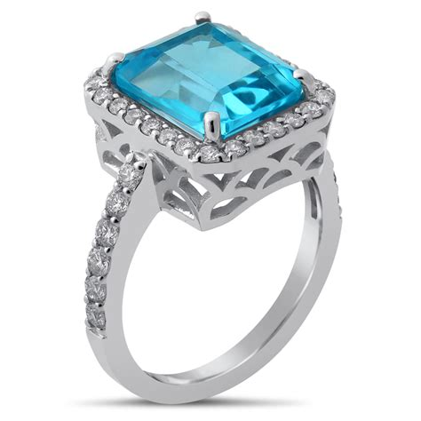 emerald cut blue topaz diamonds antique style engagement