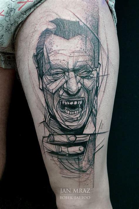 bukowski tattoo rat in fox on right thigh