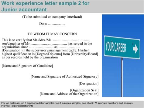 Experience Letter Accountant Junior Accountant Experience Letter