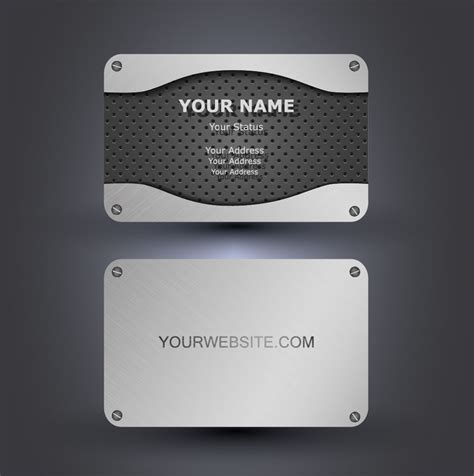 Metallic style business cards vectors 02   Vector Card