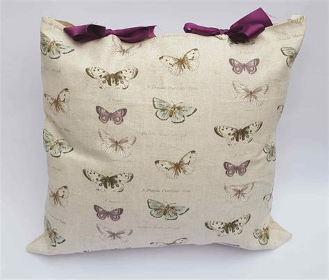 Handmade Soft Furnishings - butterfly design cushion with purple bows handmade soft