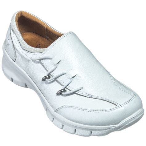 white nursing sneakers nursemates shoes s 258104 white leather slip on