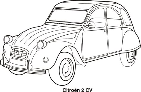 coloring pages classic art free vector graphic car car outline cars citroen