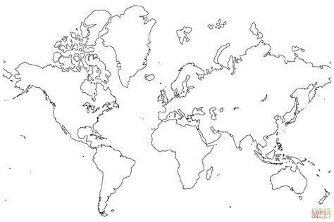 global map coloring page blank map of the world coloring page free printable