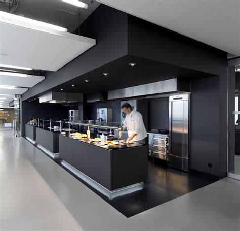 Commercial Kitchen Design Commercial Kitchen In A Cus The Soffits Are Amazing In This Space And I The Finish On