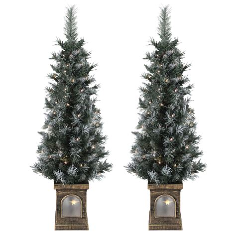set of 2 pre lit 4ft 120cm frosted christmas xmas