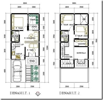 layout rumah lebar 5 meter contoh denah rumah lebar 5 meter desain rumah