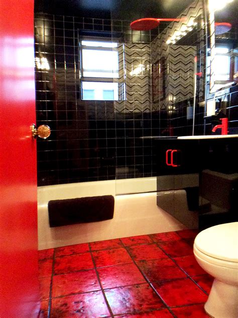 black white and red bathroom vola bath and kitchen faucets designed by arne jacobsen