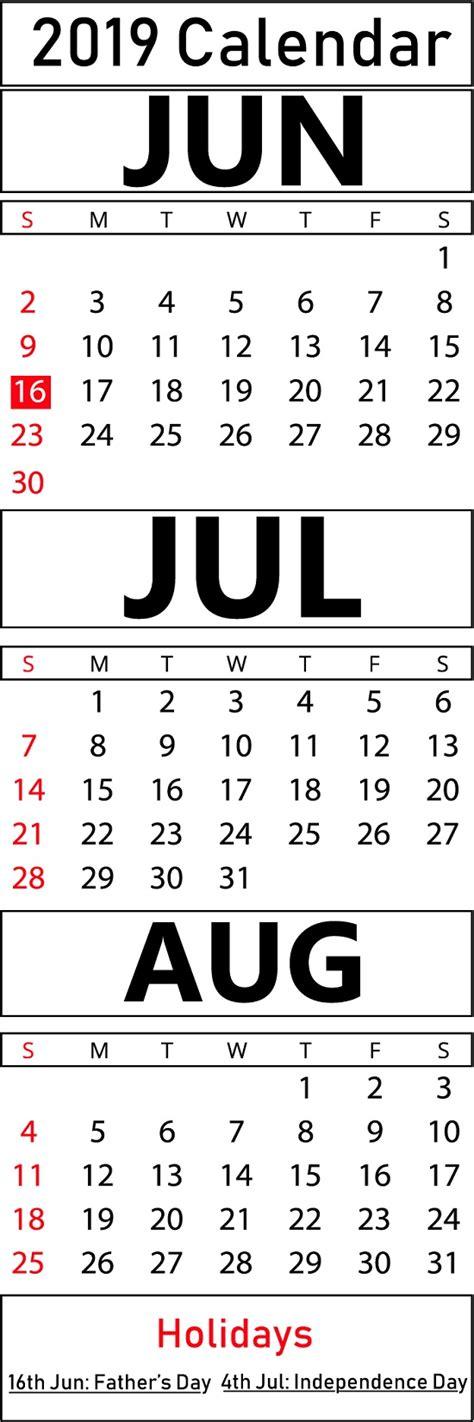 blank june july august  printable calendar