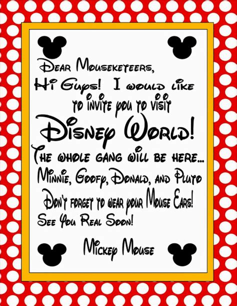 Printable Invitation To Disney World | free printable invitation for disney world trip disney