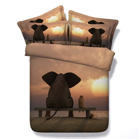Bedcover 3d 3 In 1 180x200cm Femina 1 Set 3d elephant comforter set bedding duvet cover bed in a bag sheet for adults quilt doona linen
