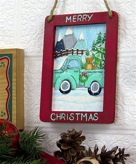 merry christmas vintage truck hanging project  decoart