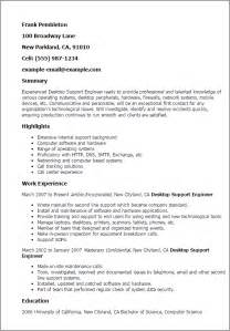 It Desktop Support Sle Resume by Professional Desktop Support Engineer Templates To Showcase Your Talent Myperfectresume