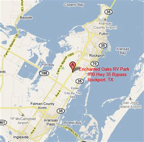 rv parks in texas map enchanted oaks rv park rockport tx