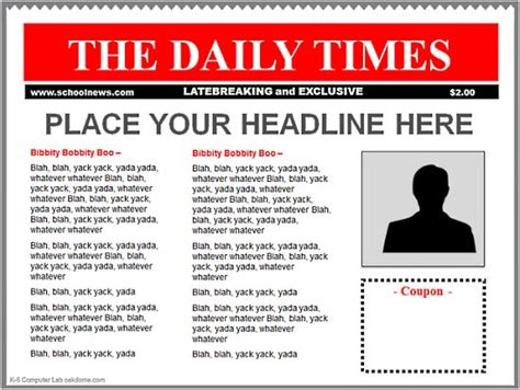 newspaper headline template powerpoint newspaper templates k 5 computer lab