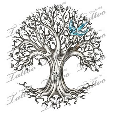 60 ash tree tattoos ideas blue ink flying bird and ash tree design
