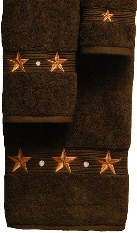 texas star bathroom decor barn star embroidered chocolate bath towel 3 pc set