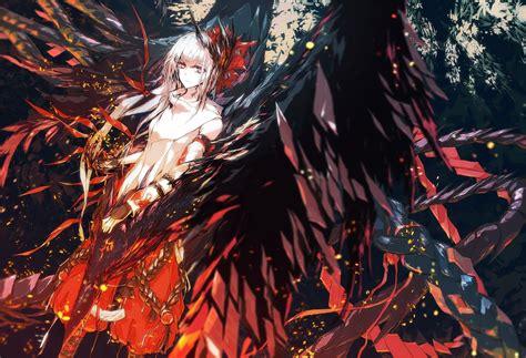 anime artwork anime artwork birds fujiwara no mokou h