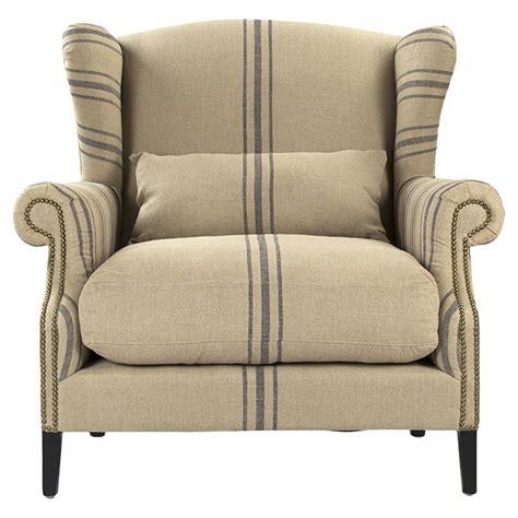 striped living room chair napoleon fog linen blue stripe wingback arm chair