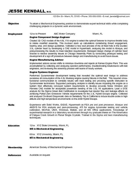 Resume Career Objective Mechanical Engineer mechanical engineer resume sle http www