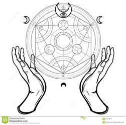 human hands touch an alchemical circle mystical symbols