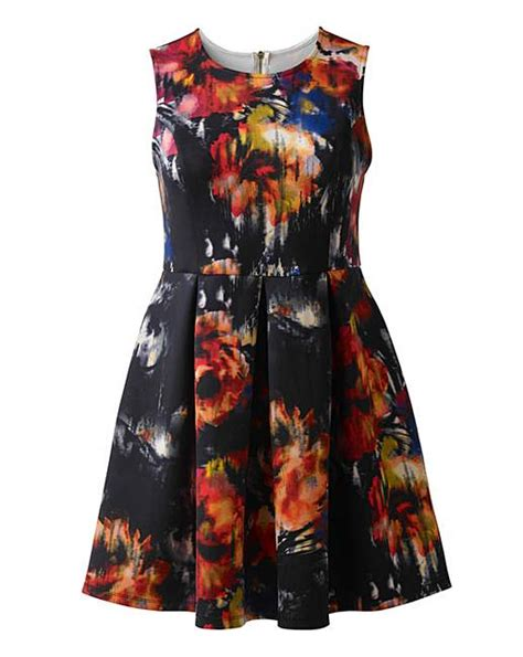 Simply Dress Scuba scuba pleated print dress simply be