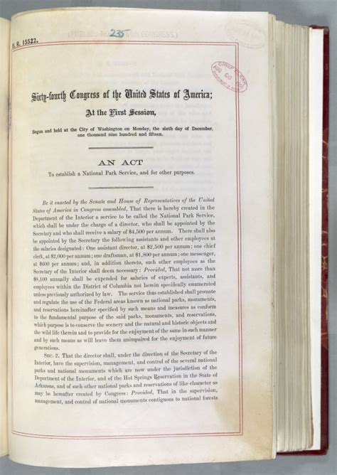 Federal Records Act On Exhibit One Hundred Years Of The National Park Service