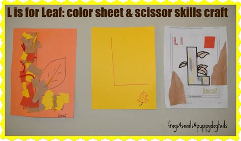 l craft project l is for leaf scissor skills craft that also goes