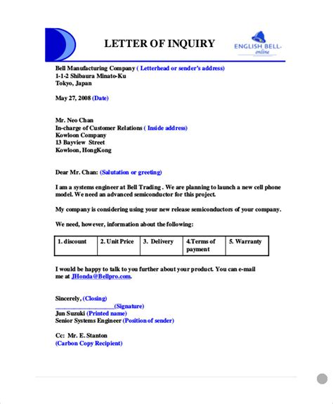 Business Letter Enquiry Sle Business Enquiry Letter 5 Exles In Word Pdf