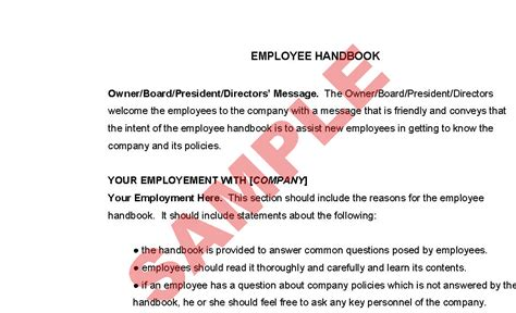employee handbook sections simple employee handbook template free images