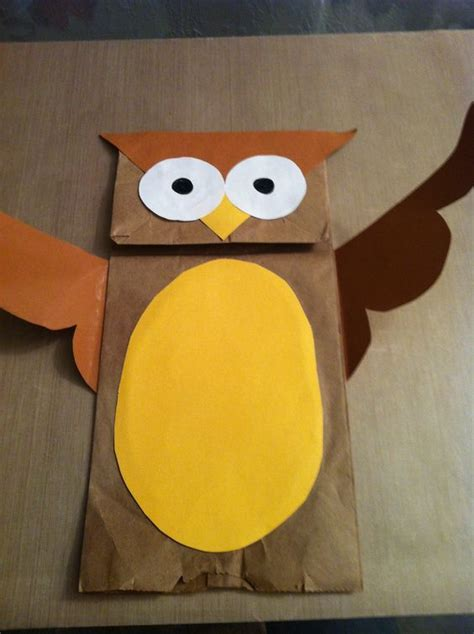 How To Make A Paper Bag Owl - paper bag owl arts and crafts paper owl