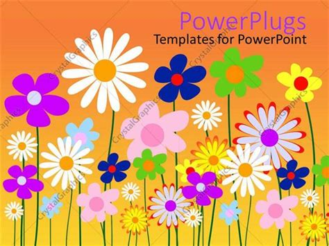 Powerpoint Template Abstract Two Dimensional Design Of Colorful Floral Powerpoint Templates Flowers Orange