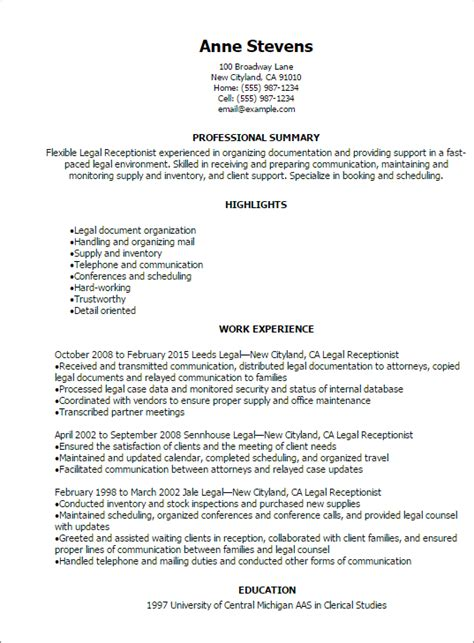 professional receptionist resume templates to showcase your talent myperfectresume