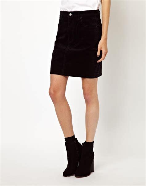 asos monki mini cord skirt in black lyst