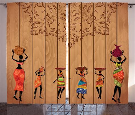 at home curtains african curtains 2 panels set aboriginal girls art home