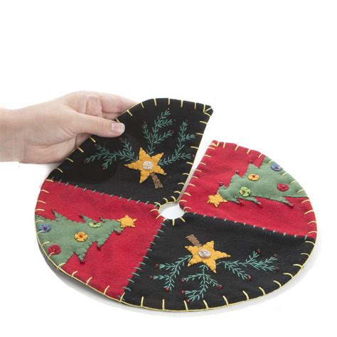 small christmas tree and star hand embroidered tree skirt