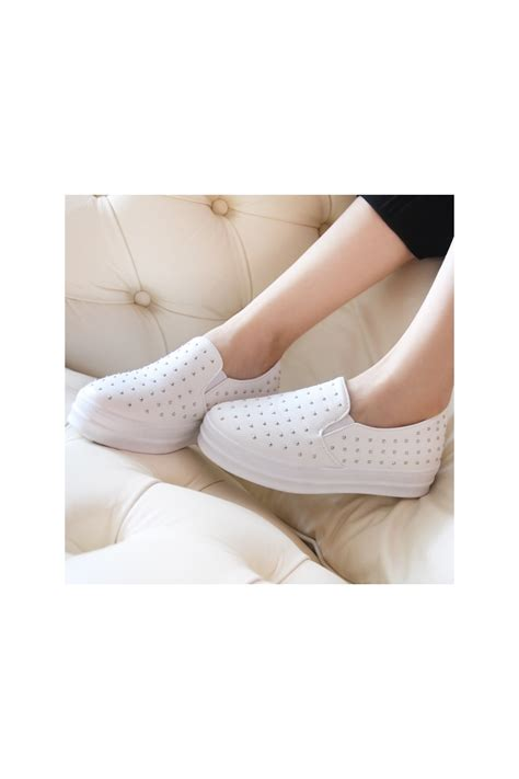 Platform Faux Leather Shoes womens white studded faux leather slip ons platform