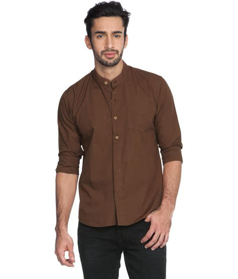 Tshirt Choco Solid zovi regular fit solid chocolate brown shirt with mandarin collar sleeves buy zovi