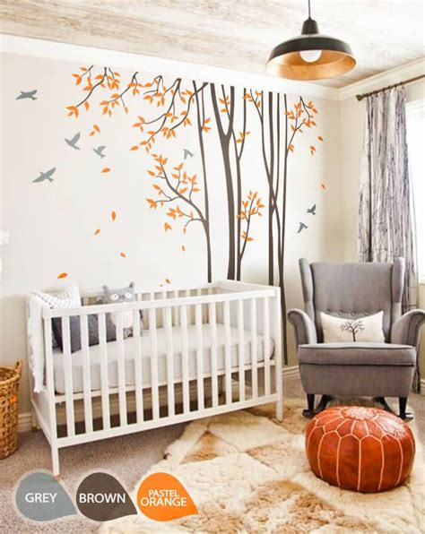 Large Nursery Wall Decal Set With Grey Birds And Orange Large Nursery Wall Decals