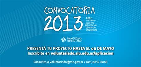 convocatoria hasta el 20 de enero de 2013 para convocatoria 2013 del programa de voluntariado
