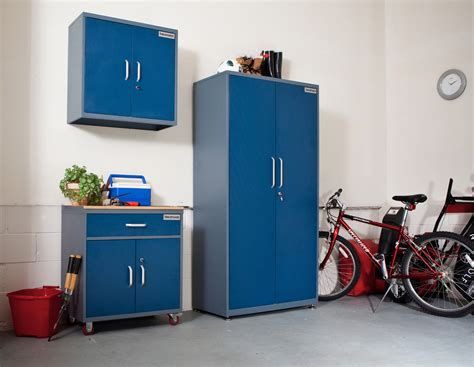 metal garage storage cabinet in blue for wall roller and