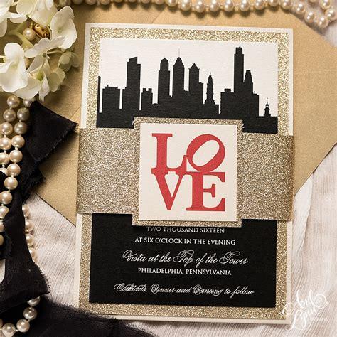 city themed wedding invitations april s philadelphia themed wedding invitation