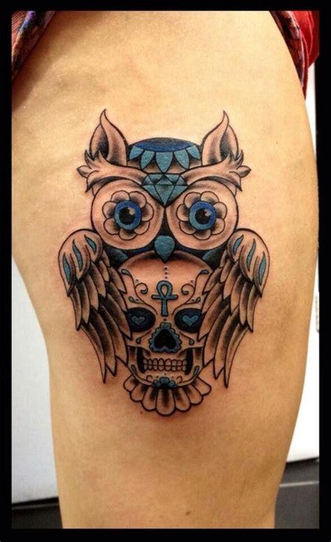 owl head tattoo best 25 owl skull tattoos ideas on sugar