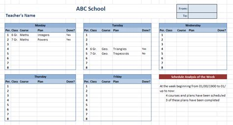 Teacher Schedule Template Schedule Template Free Transportation Schedule Template