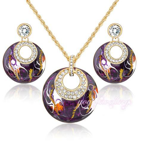 enamel jewelry retro vintage enamel jewelry sets earrings necklace set