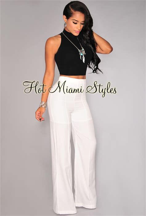 Highwaist White white high waist pleat wide leg
