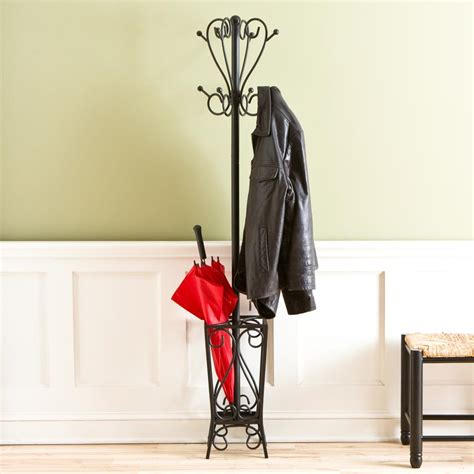 Coat Rack Umbrella Holder by Sei Black Scrolled Metal Coat Rack And